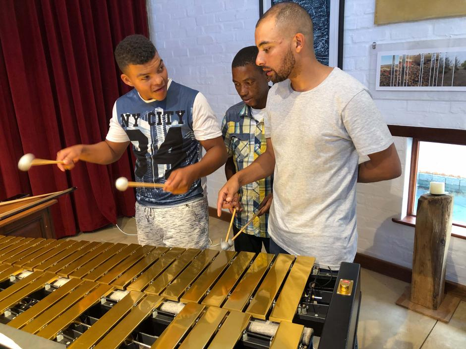 Marimba lesson with Dylan Tabisher from Duo Infinity