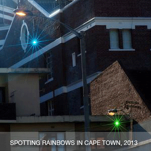 Spotting rainbows in Cape Town (1000 faceted glass crystals hung from lamp posts in Cape Town)