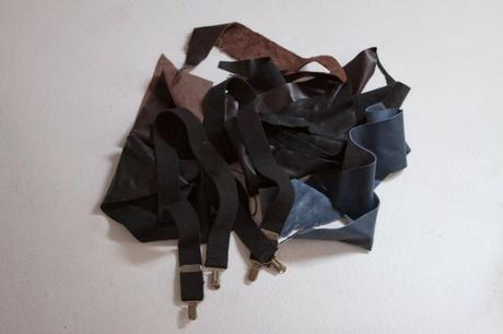 Off-cuts and discarded leather materials used by The Summit for bow tie in Image 5.