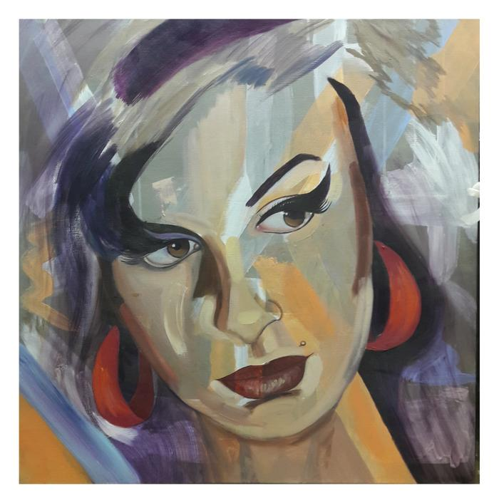 Adrienne Lee   She    Acrylic and oil on \canvas    70 x 70cm     R5500