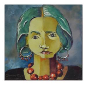 Carmen    self Portrait    Oil on canvas      30 x 30 cm  sold