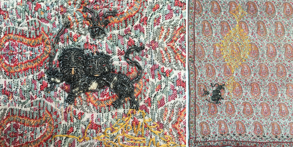 Persian Qajar termeh fine twill in Kashmir with royal coat arms lion with sword • mid 19th cent