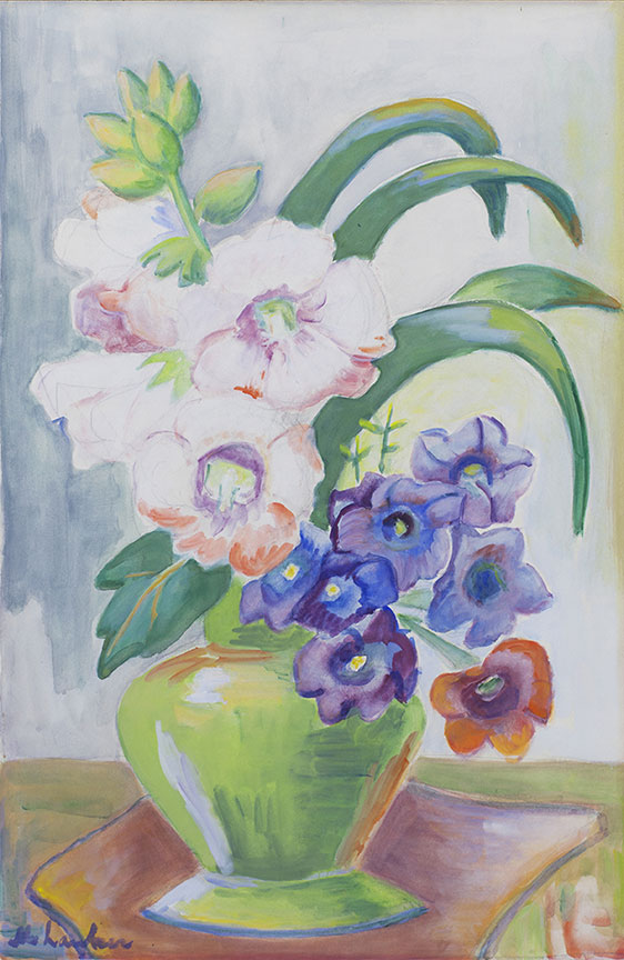 Still life of flowers in a green vase - SOLD