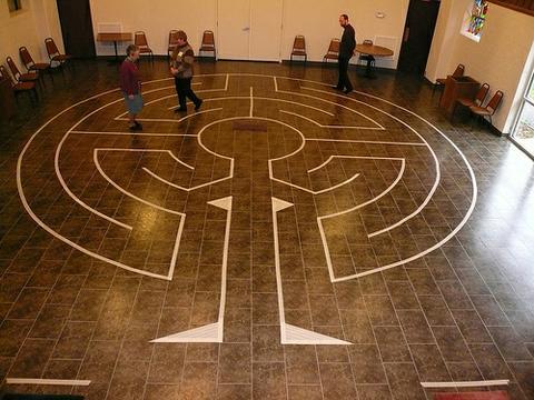 Masking tape Labyrinth made by Warren Lynn & John Ridder. Photo by John Ridder. Indianapolis Spirit