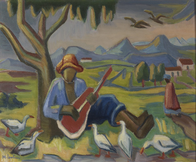 Maggie Laubser: Boy playing guitar - SOLD