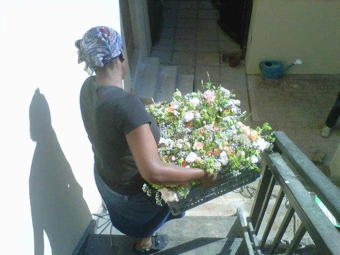 Zanele moving flowers to the car for delivery