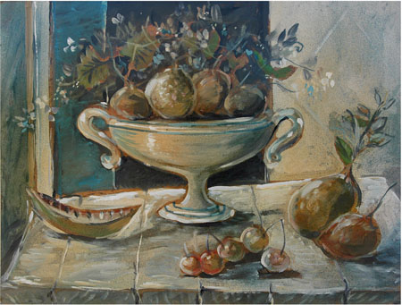 Still life with a bowl of fruit - SOLD