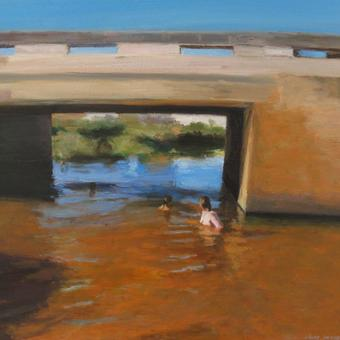 thumbnail for Submerged cathedral I / Self-portrait with my children under a bridge.Prelude 10.Oil on wood.30x40cm