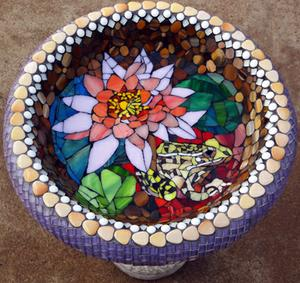 Waterlily & Leopard frog glass & ceramic mosaic on concrete birdbath.  SOLD for 1600