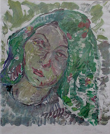 Woman with green scarf - SOLD
