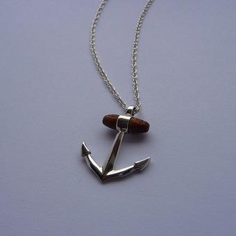 thumbnail for Silver anchor pendant with wooden detail
