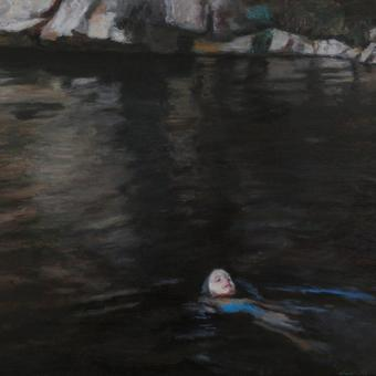 thumbnail for Submerged cathedral II / Ophelia (the artist's daughter) II. Prelude 10 also. Oil on wood. 30 x 40cm