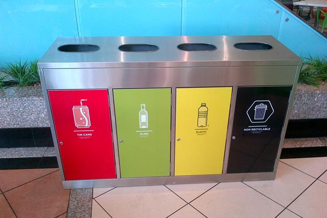school recycling bins