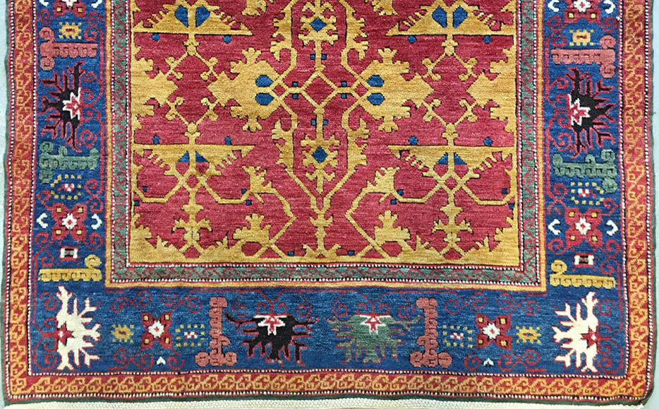 Section from a 2018 Turkish revival of a 16/17th cent ' Lotto 'design rug