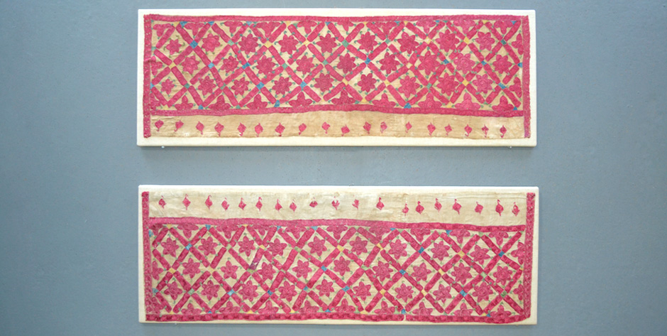 End panels of a silk embroidered Indian subcontinent Sindhi wedding shawl • 19th cent