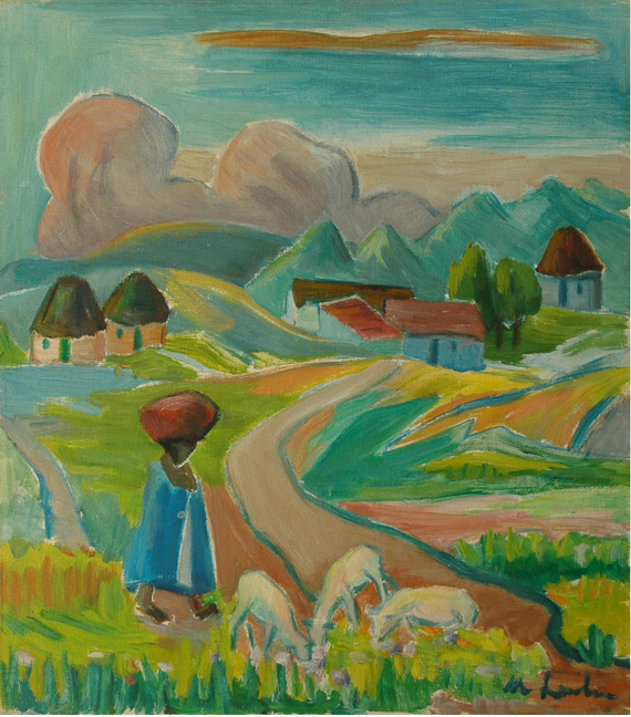 Landscape with figure and sheep - SOLD