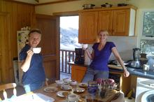 Director Izette Mostert and camerawoman Karen Landsberg enjoy a cuppa during a break in shooting