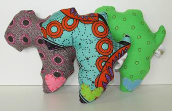 thumbnail for Small Africa shaped cushion