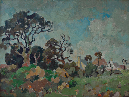 Landscape with trees and houses - SOLD