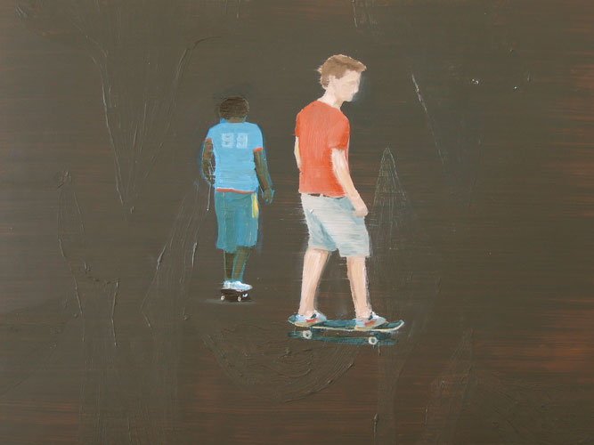 Skateboarders (indifferent minds), oil on board, 30 x 42 cm, 2007