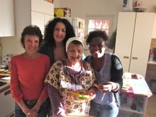 Lisa and her mom Irma with Sarah Hesselman and Thuli.