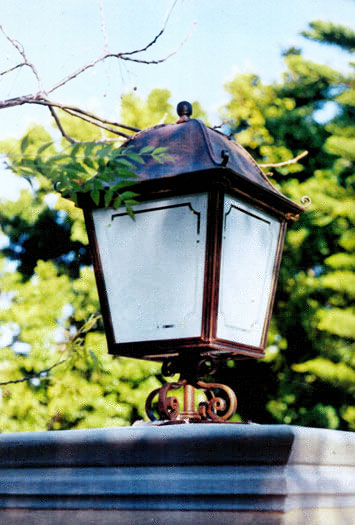 Large standing lantern with patterned frosted glass panes