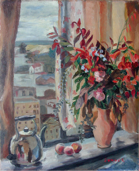 Still life with flowers in a window - SOLD