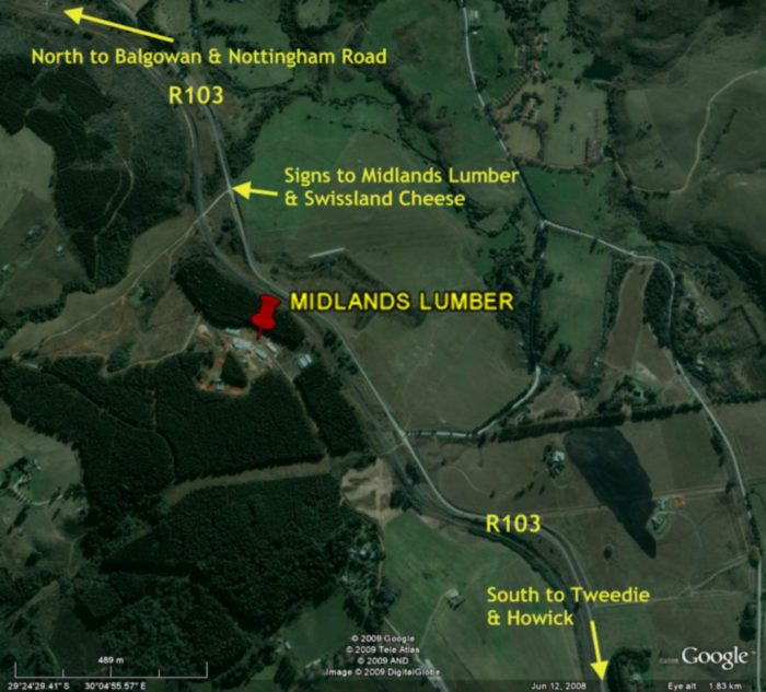 Google Earth Map to Midlands Lumber