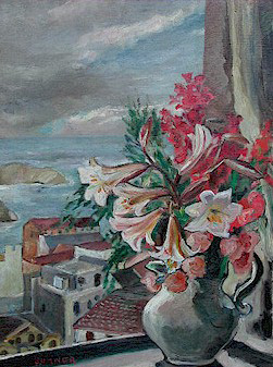 Flowers in a window - SOLD