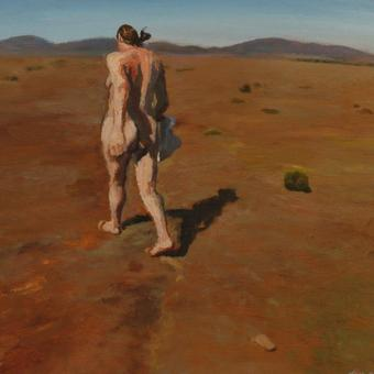 thumbnail for The wind in the plain/Naked self portrait, Albertinia. Oil on wood. 30 x 40cm