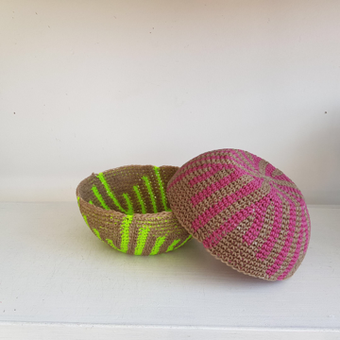 thumbnail for 200mm diameter seed bowl Feather, pictured in Pink, and Lumo Yellow.