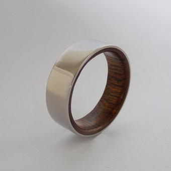 thumbnail for Titanium wedding band with wood inlay