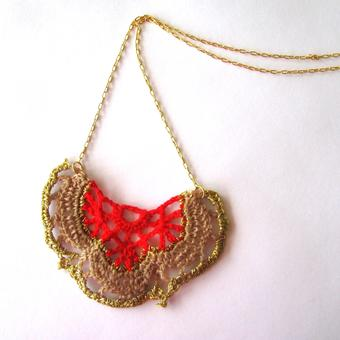 thumbnail for Bat motif necklace red and ecru