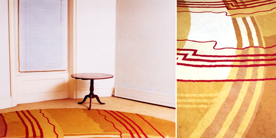 Unsigned elliptical carpet bearing all the hallmarks of  Marion Dorn • Wiilton Carpet Co. 1930s