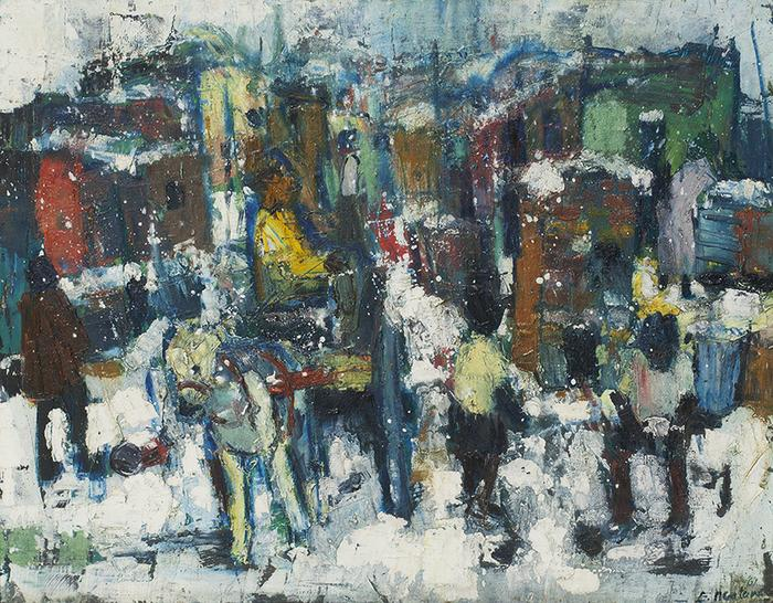 Snow scene, township - SOLD