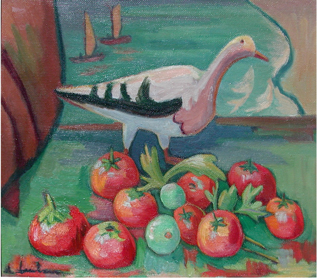 Seagull and tomatoes in a window - SOLD