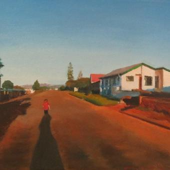 thumbnail for Frauke running down the lane, Albertinia. Oil on canvas. 30 x 40cm