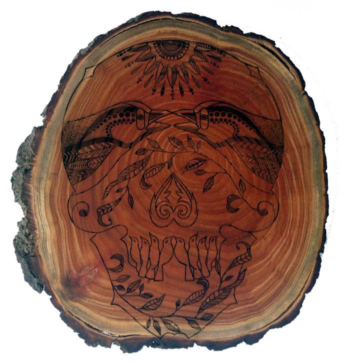 Wood Slice Taditional Calavera