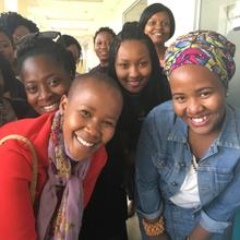Phindile with the young women she is mentoring at  Johannesburg's Maharishi Institute
