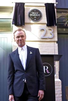 Gary Kemp at the unveiling of the Ziggy Stardust plaque in London's Heddon Street