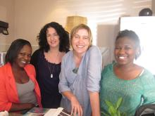 Thuli's sister Thembakazi, Lisa, director Miki Redelinghuys and Thuli