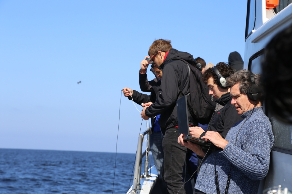 Hydrophones overboard!  Monitoring the field recordings.