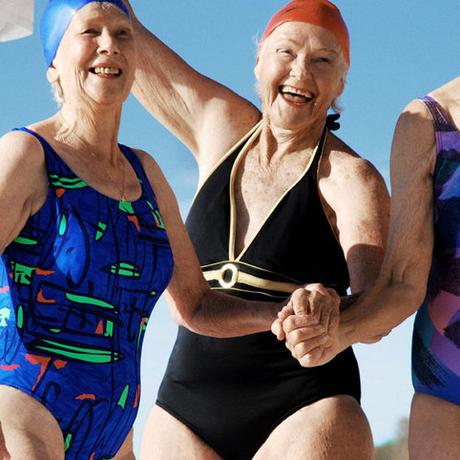 thumbnail for Bed Jump Old Swimming Ladies Close-Up