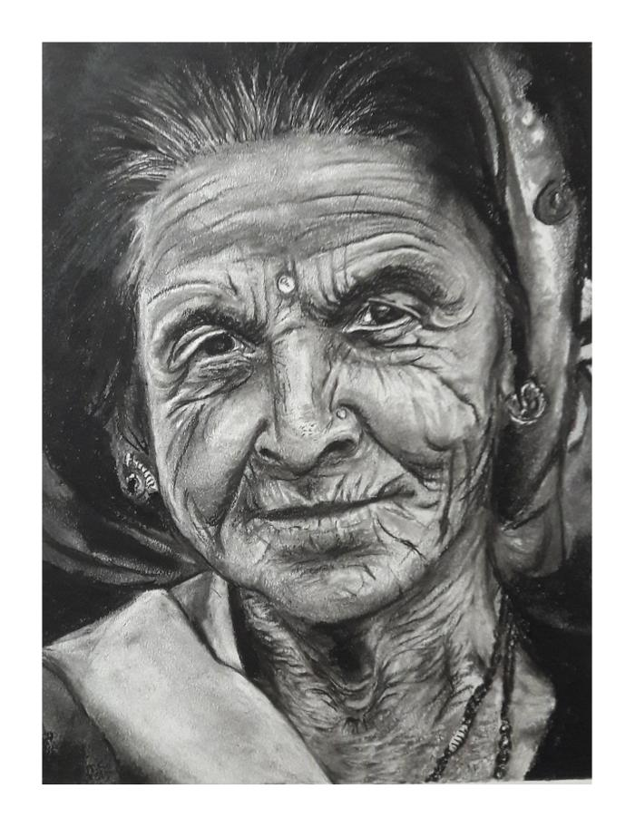Wendy Girdlestone  Each line a life full of Wild Memories Medium: Charcoal on paper  R1500