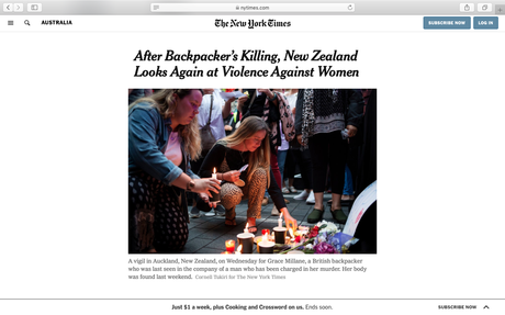New York Times (US) - After backpacker's killing, New Zealand looks again at violence against women