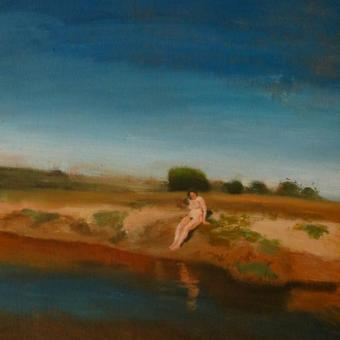 thumbnail for Nude selfportrait by stream, near Verlorenvlei I. Oil on wood. 30 x 40cm