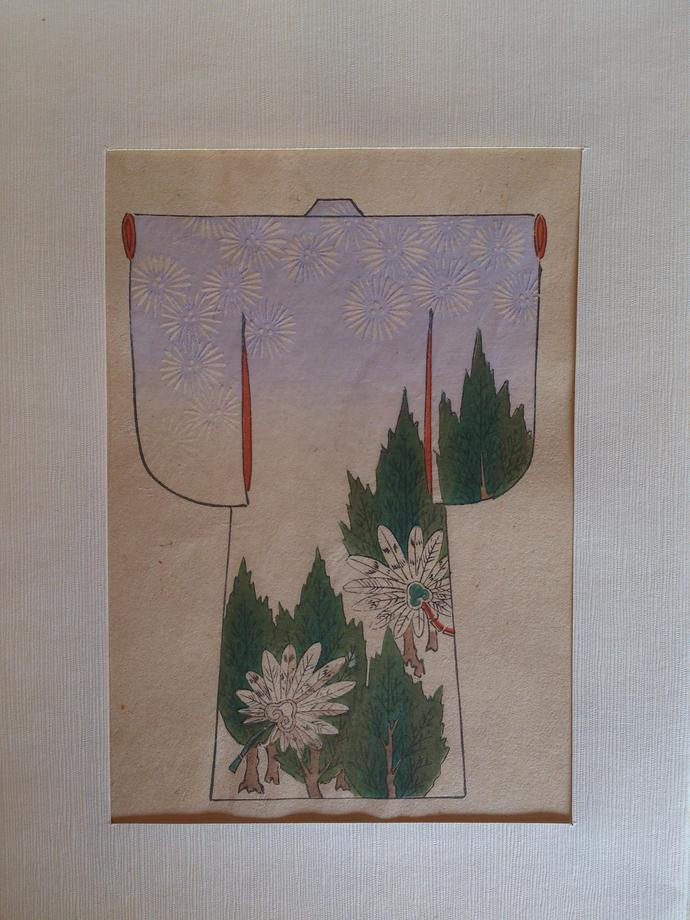 Mokuhanga print of a Kimono