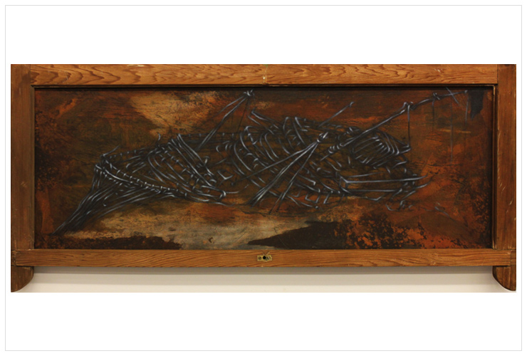 'Endeavor', 122x50cm, ink and acrylic on wood