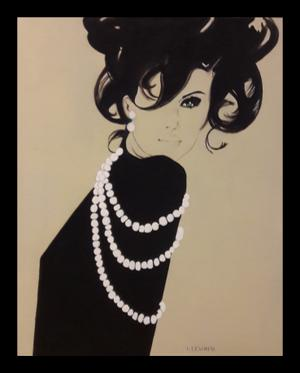 Laurain lewin     after David Downton 1-4    acrylic on Canvas     50x 40 cm    NFS