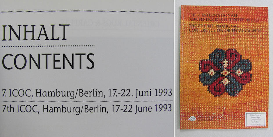 7th International Conference on Oriental Carpets • ICOC 1993 • £5 / US$8